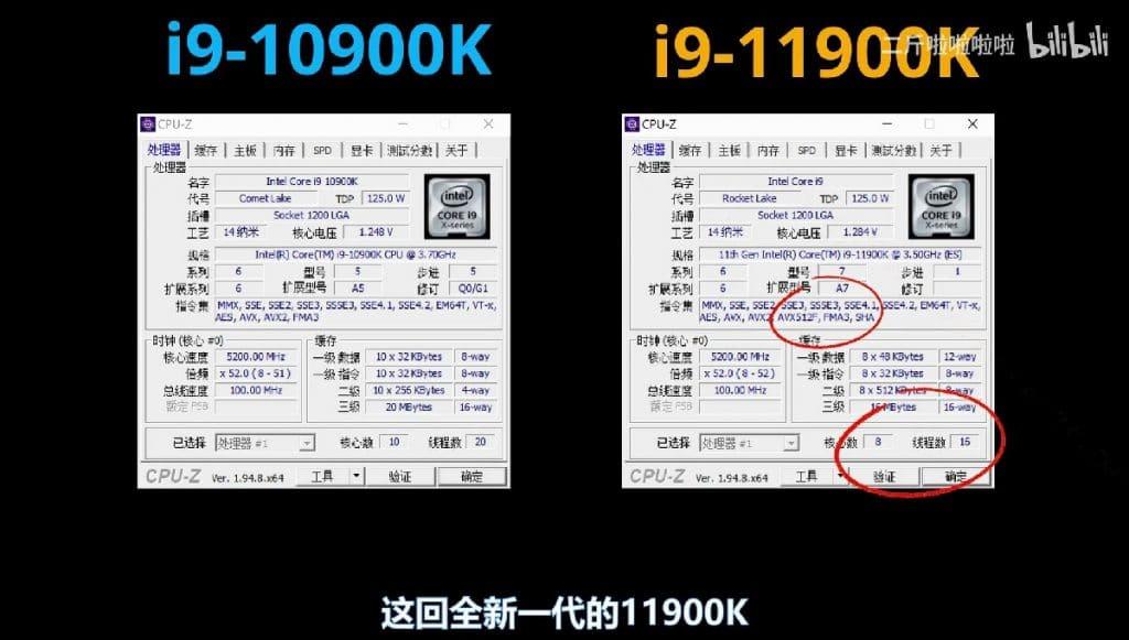 Intel i9-10900K vs i9-11900K CPUZ