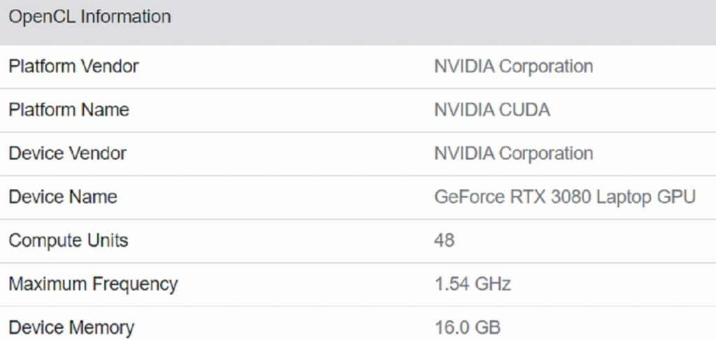 Geekbench 5 NVIDIA GeForce RTX 3080 Mobile