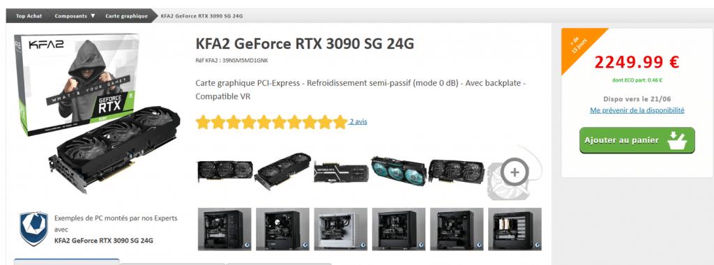 Stock KFA2 RTX 3090 SG 24G