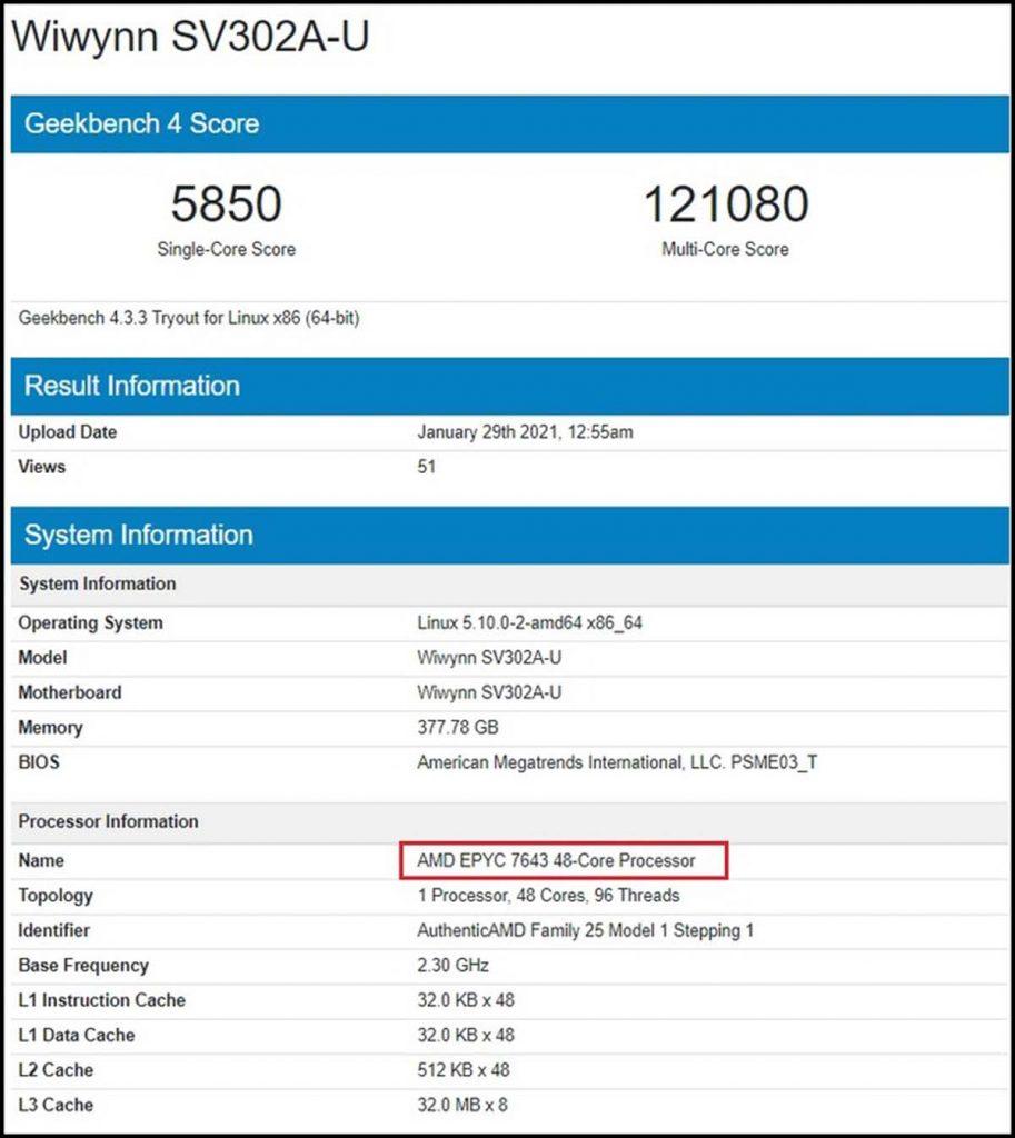 Benchmark Geekbench 4 AMD Epyc 7643