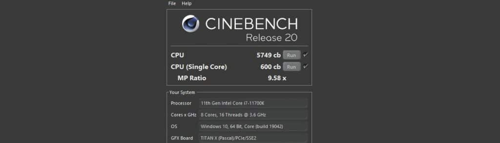Intel COre i7 11700K Cinebench R20