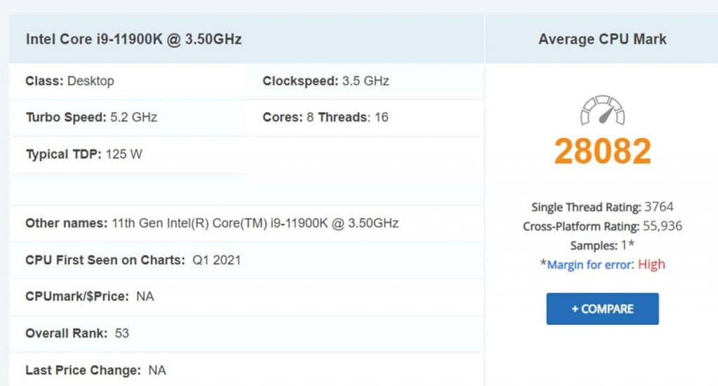 Intel Core i9-11900K détail PassMark benchmark