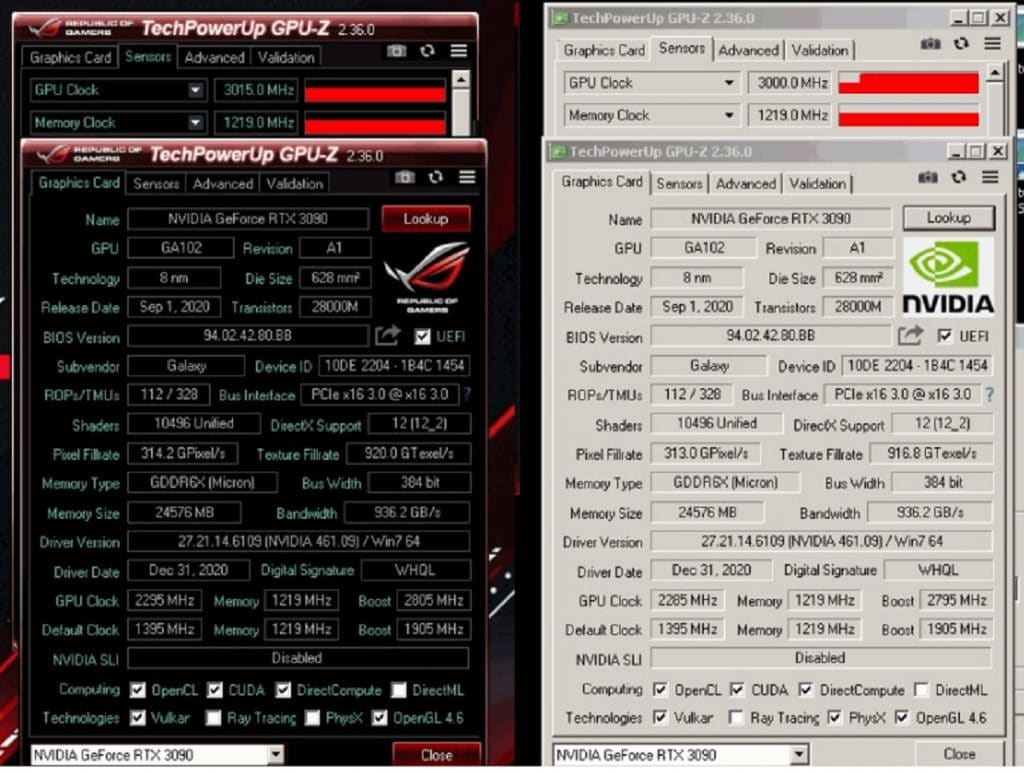 KFA2 GeForce RTX 3090 HOF overclocking GPUZ
