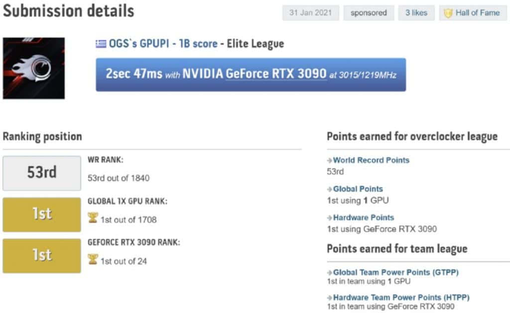 KFA2 GeForce RTX 3090 HOF overclocking OGS