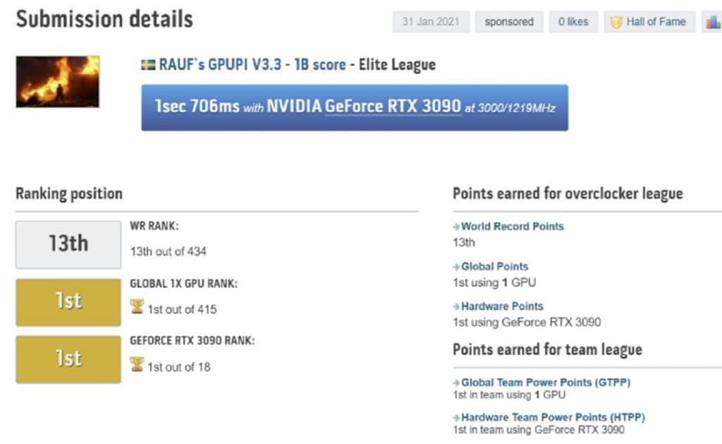 KFA2 GeForce RTX 3090 HOF overclocking Rauf