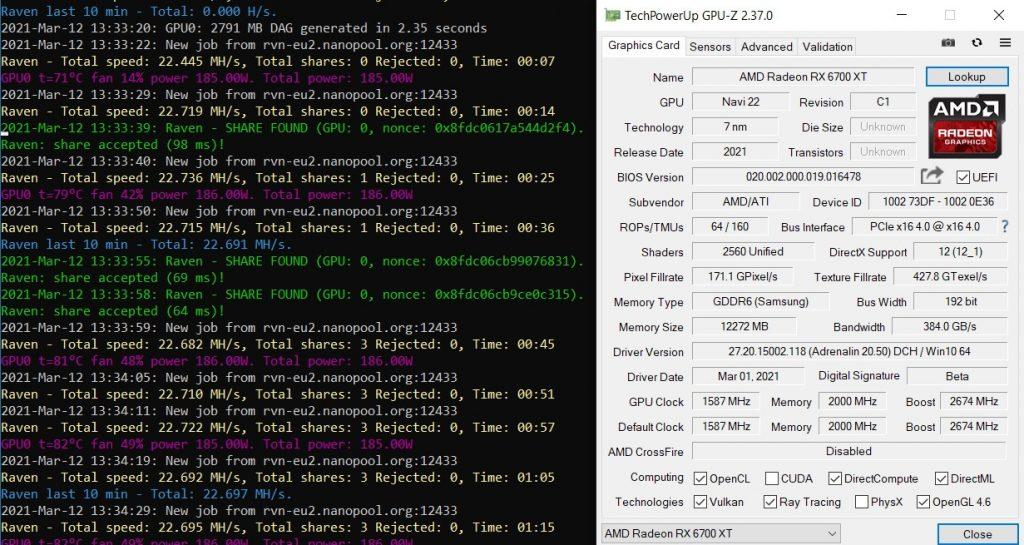 Mining AMD Radeon RX 6700 XT Ravencoin