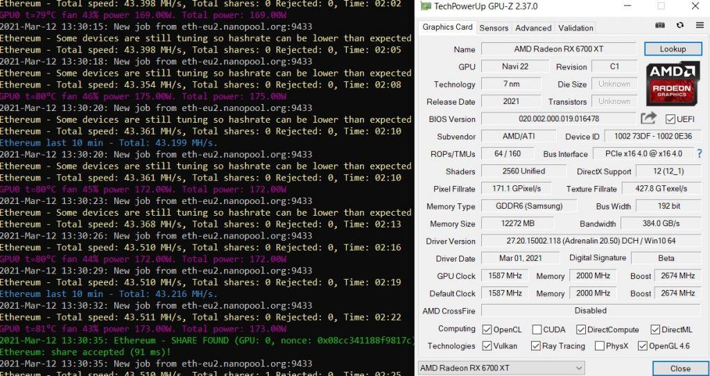 Mining AMD Radeon RX 6700 XT Ethereum