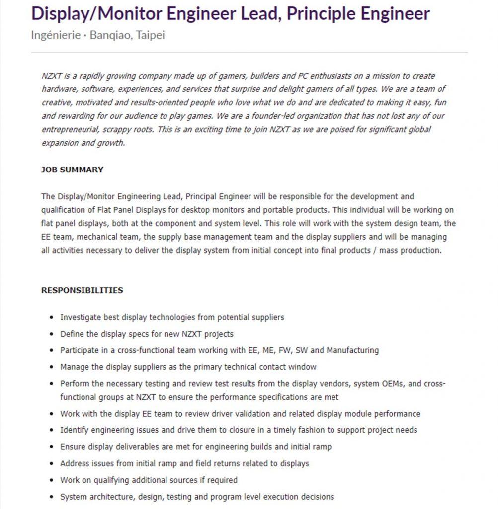 NZXT Display/Monitor Engineer Lead, moniteurs gaming