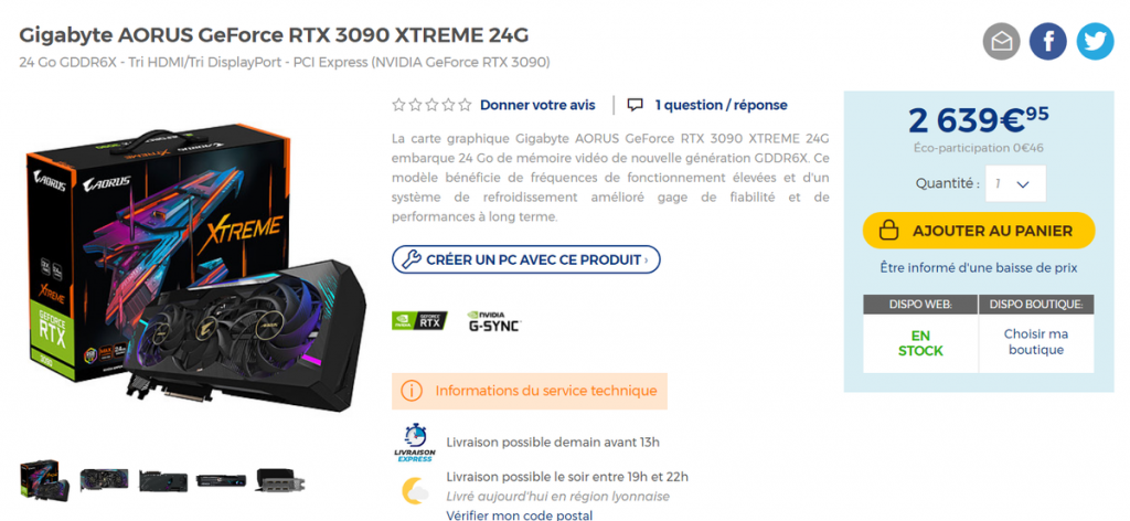 Stock AORUS RTX 3090 XTREME