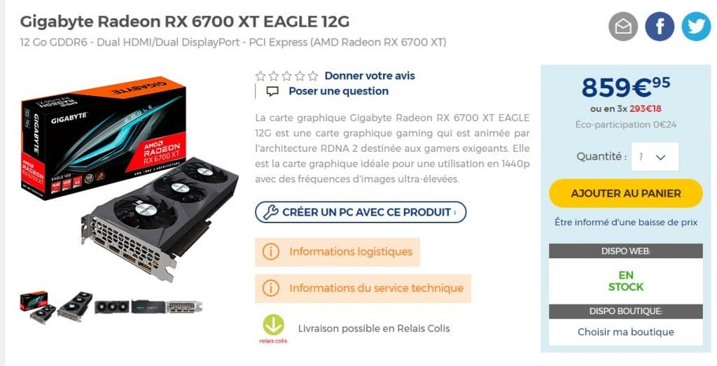 Stock GIGABYTE Radeon RX 6700 XT EAGLE