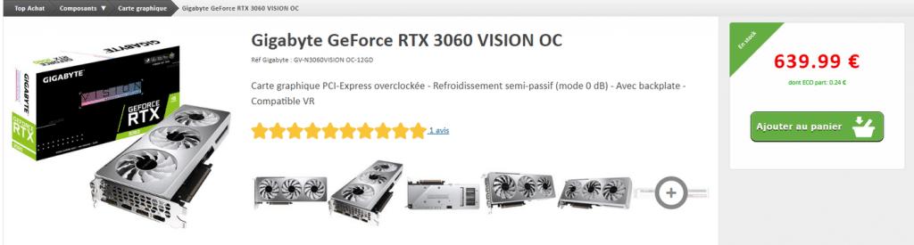 Stock GIGABYTE RTX 3060 VISION OC