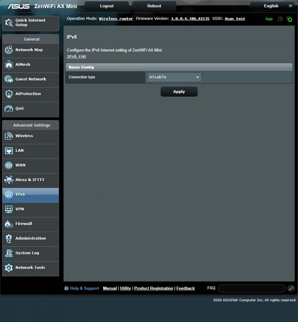 Routeur ASUS Interface web