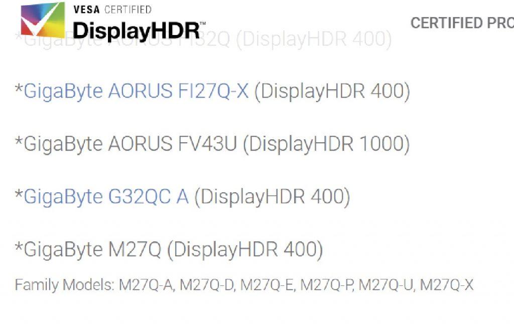 AORUS FV43U certification DisplayHDR