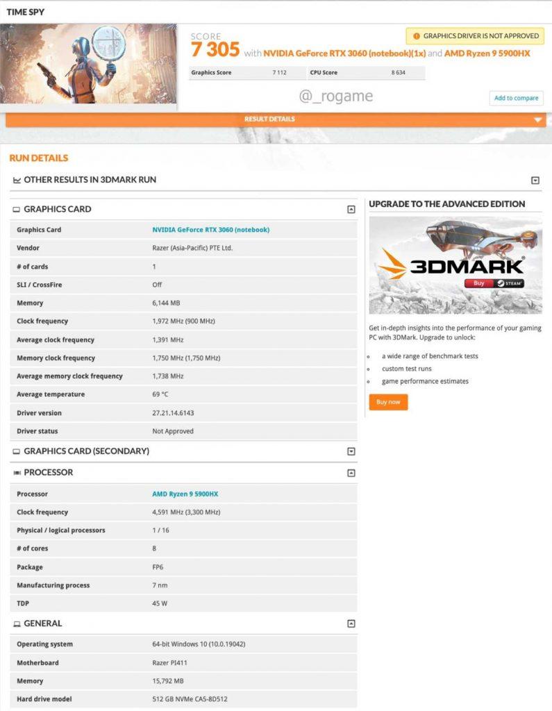 Benchmark 3DMark Time Spy laptop Razer AMD Ryzen