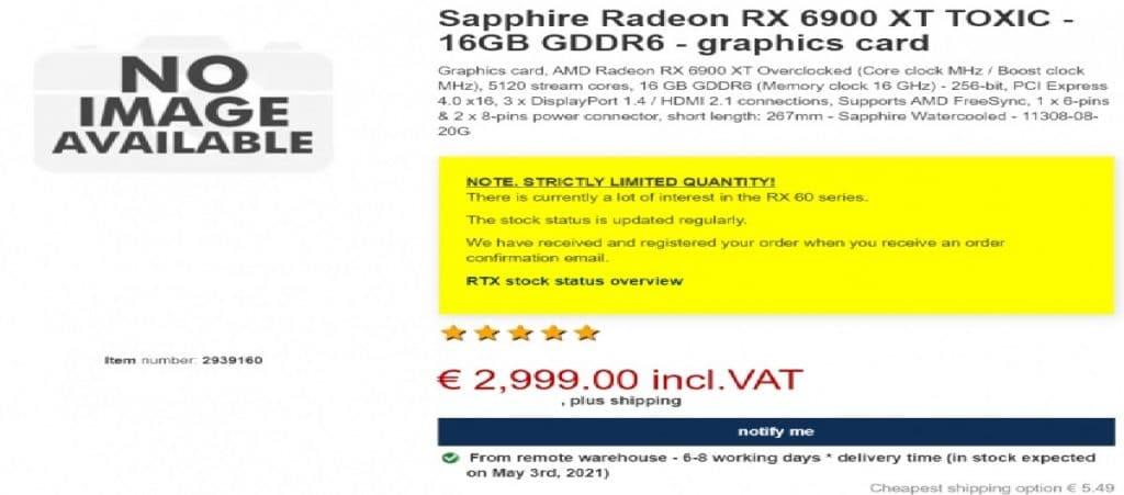 Prix CentralPoint Sapphire RX 6900 XT Toxic Extreme