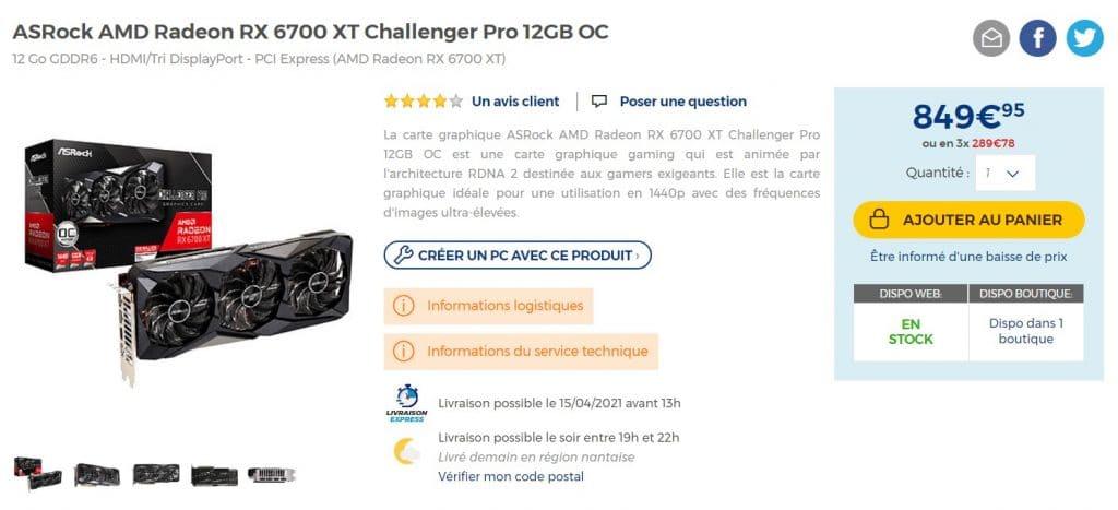 Stock ASRock RX 6700 XT Challenger Pro 12GB OC