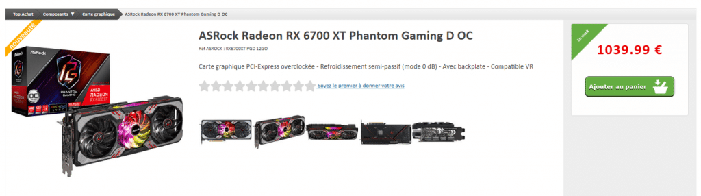 Stock ASRock RX 6700 XT Phantom Gaming D OC
