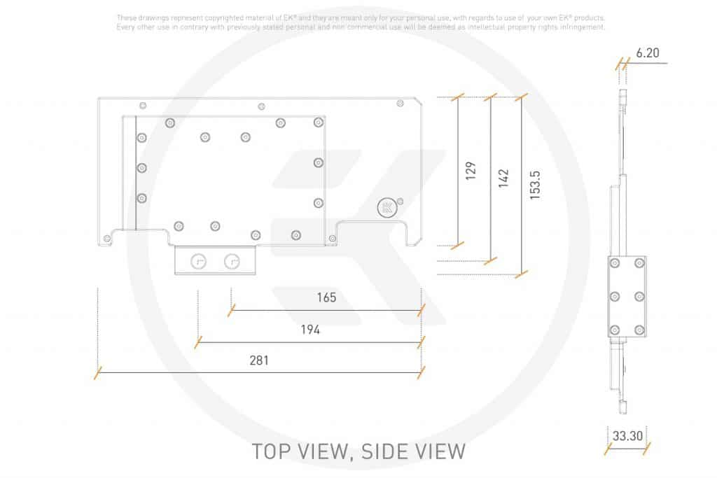 EK-Quantum Vector Strix RTX 3080/3090 Active Backplate
