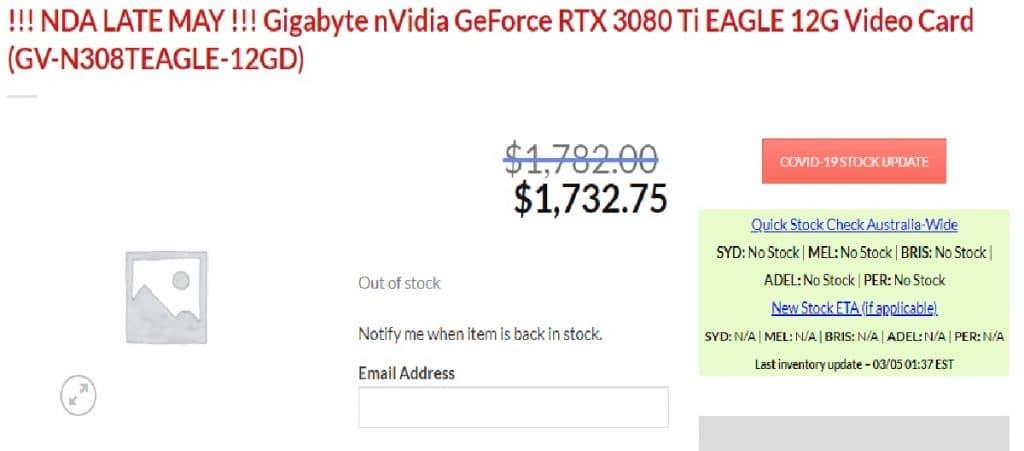 Gigabyte GeForce RTX 3080 Ti EAGLE 12 Go