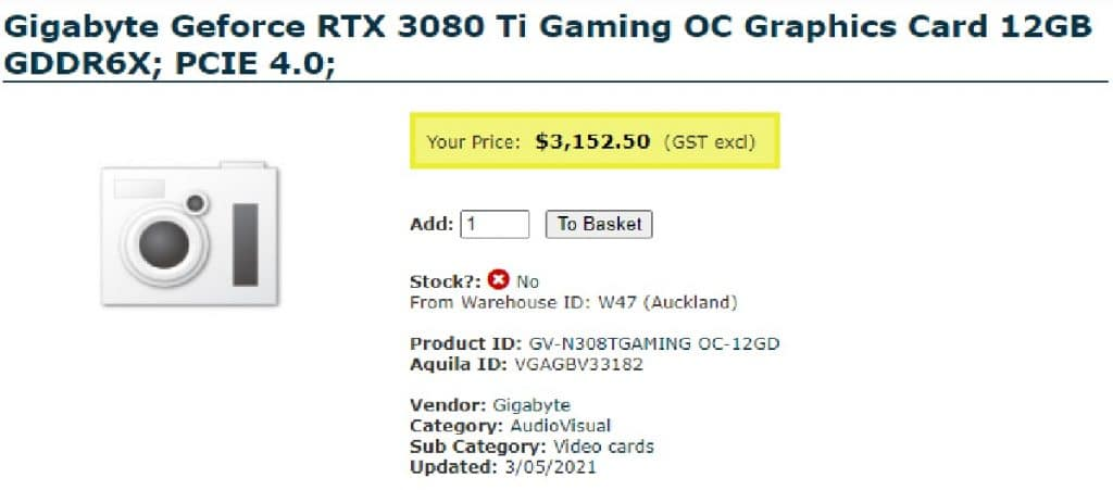 Gigabyte GeForce RTX 3080 Ti Gaming OC 12 Go