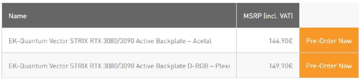 Tarifs EK-Quantum Vector Strix RTX 3080/3090 Active Backplate