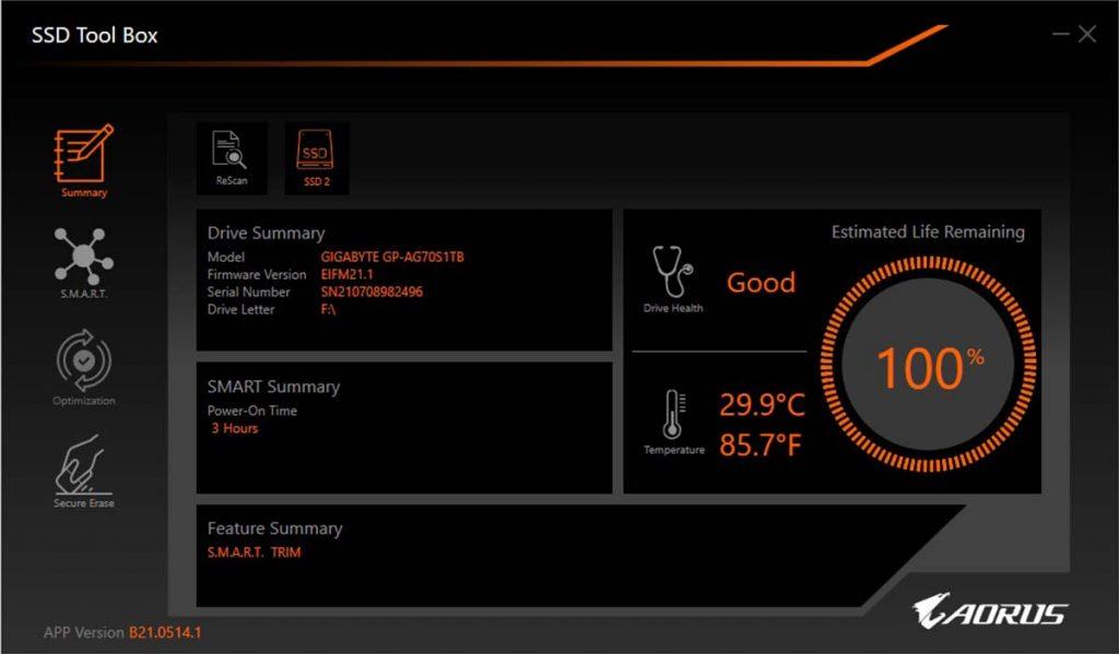 AORUS SSD Tool Box Summary