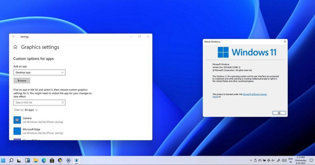 Choix de carte graphique Microsoft Windows 11