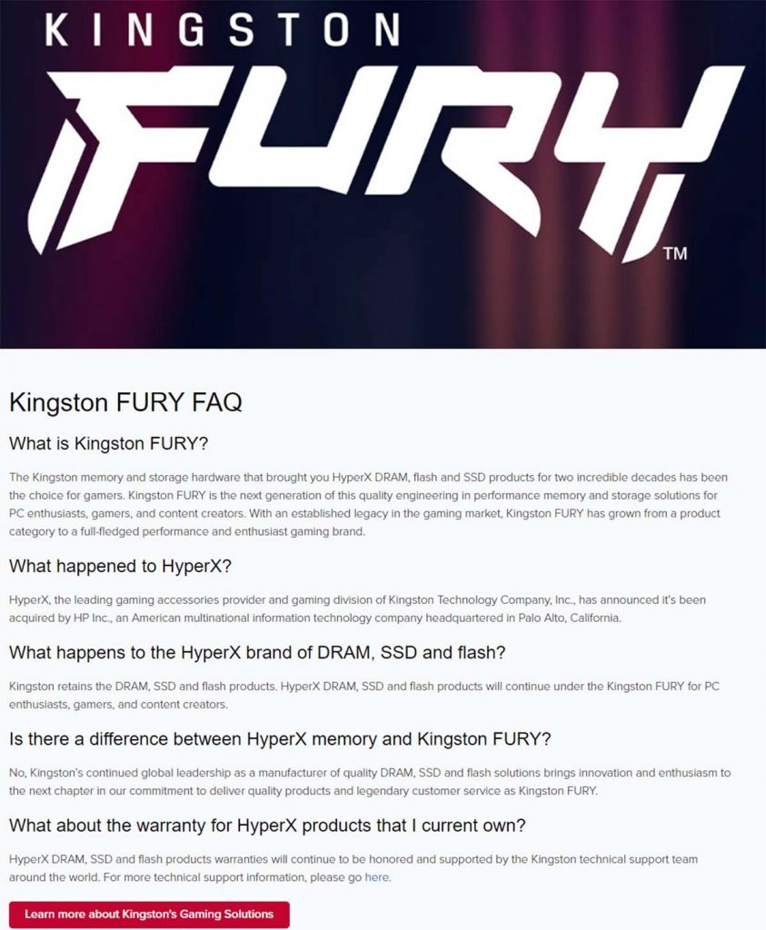 Kingston Fury FAQ