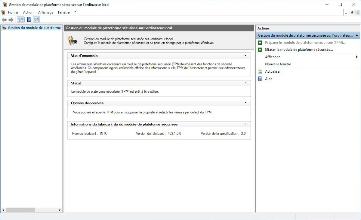 TPM Activé Windows 11