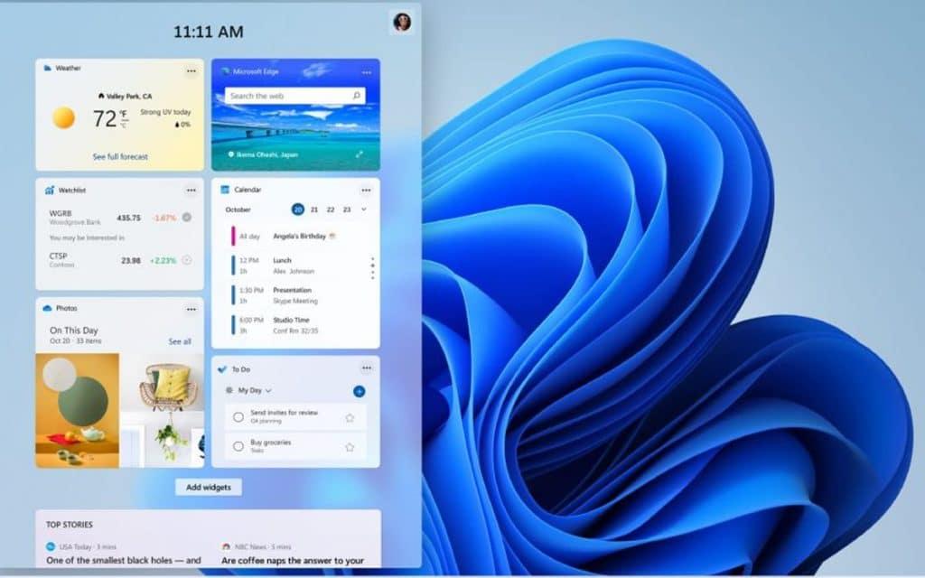 Windows 11 les widgets font leur retour