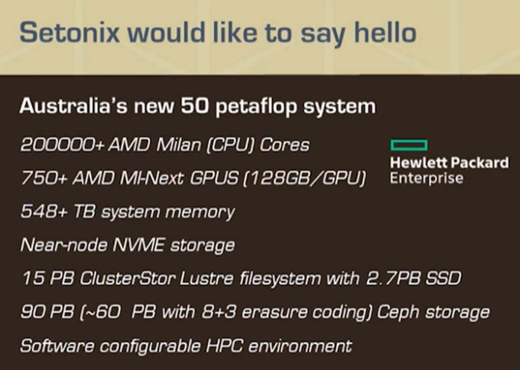 Caractéristiques Super ordinateur Setonix CPU/GPU AMD Instinct MI200