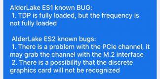 liste des bug Intel Alder Lake