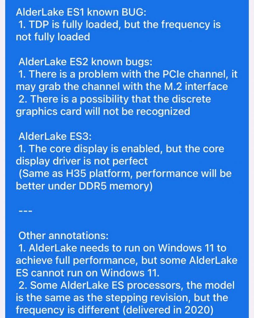 Liste des bugs Intel Alder Lake