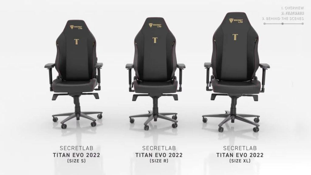Secretlab TITAN Evo : les différentes tailles
