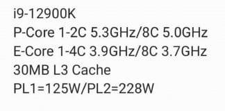 Spécifications techniques Intel Core Alder Lake&'