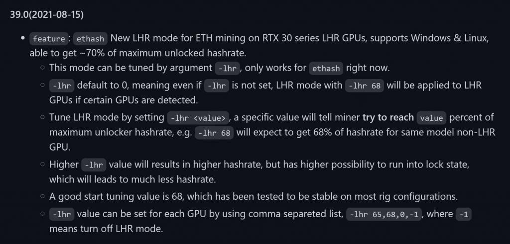 NBMiner permet d'augmenter de 70% les perfs mining des GPU LHR