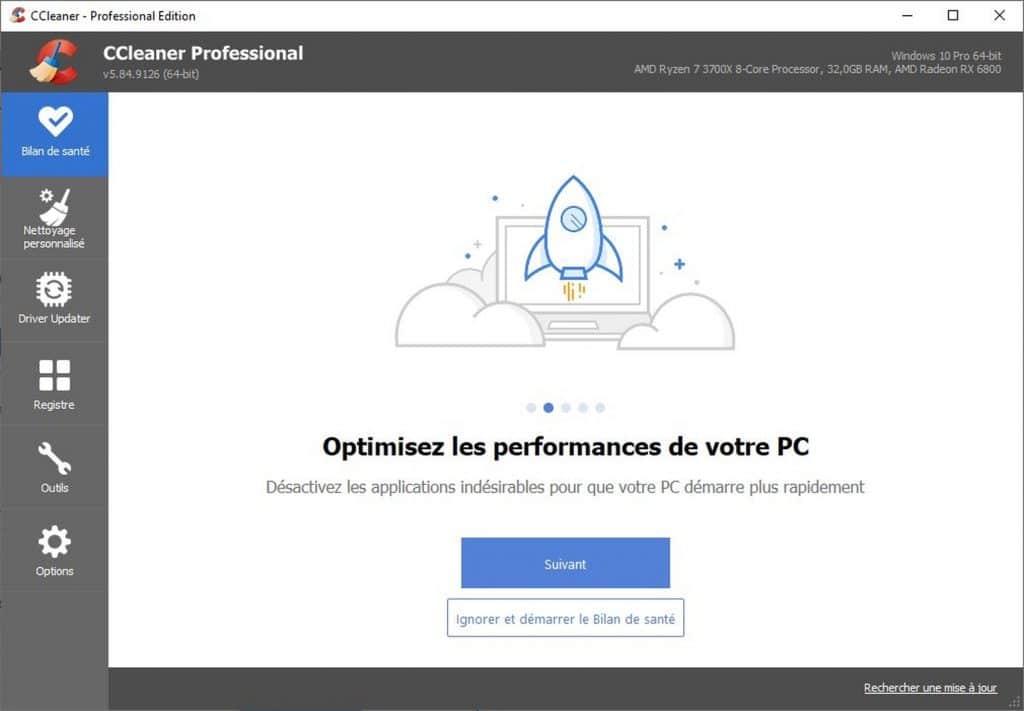 CCleaner Bilan de santé - performance