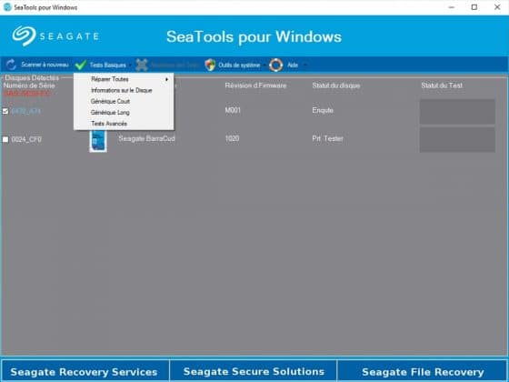 Test SSD Seatools for Windows