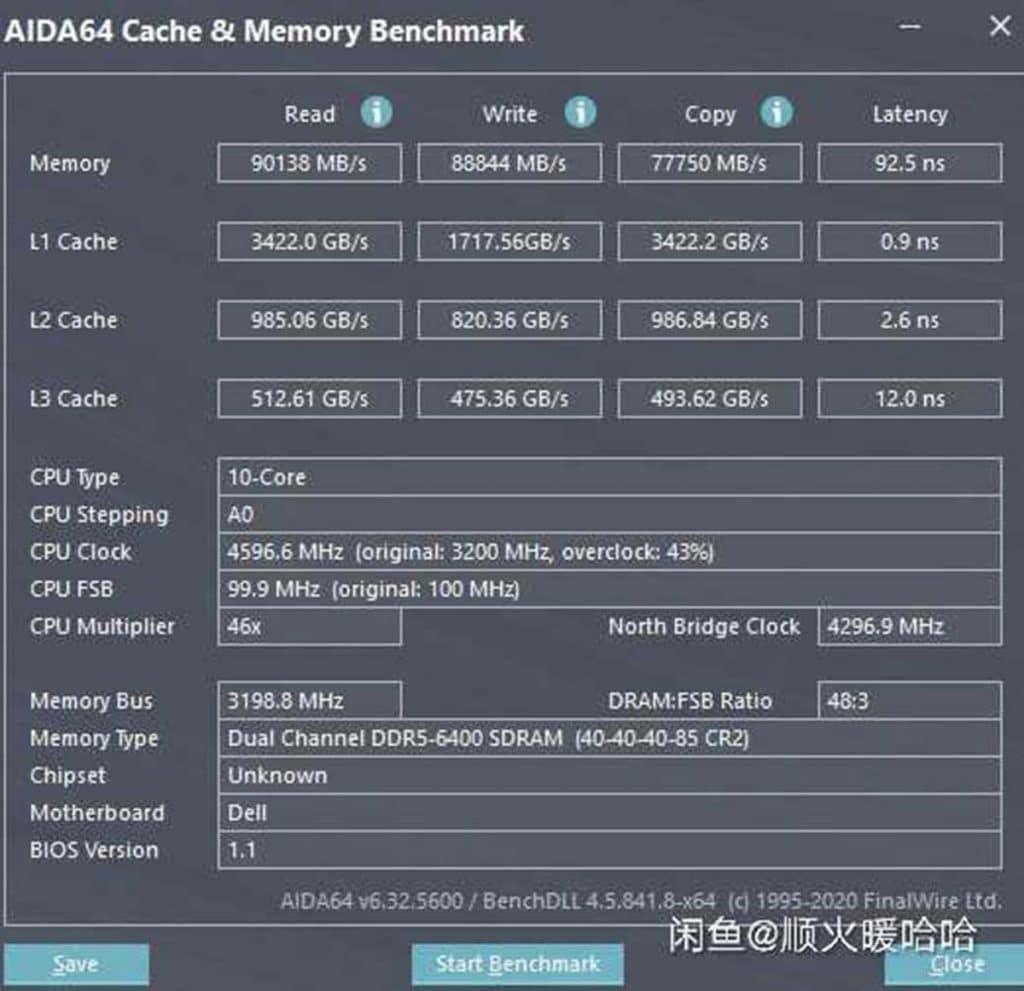 Intel Core i5-12600K benchmark Aida64