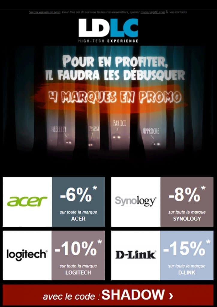 Prospectus des marques en promotion chez LDLC avec le code SHADOW