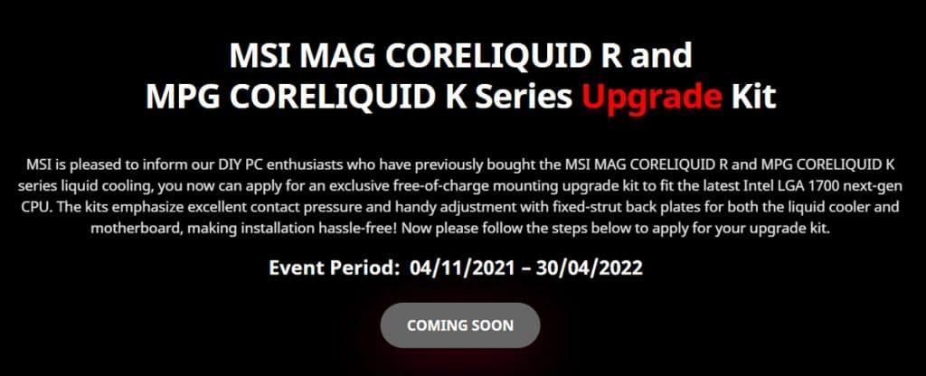 Communiqué de presse pour le kit de mise à niveau les AiO CoreLiquid de chez MSI