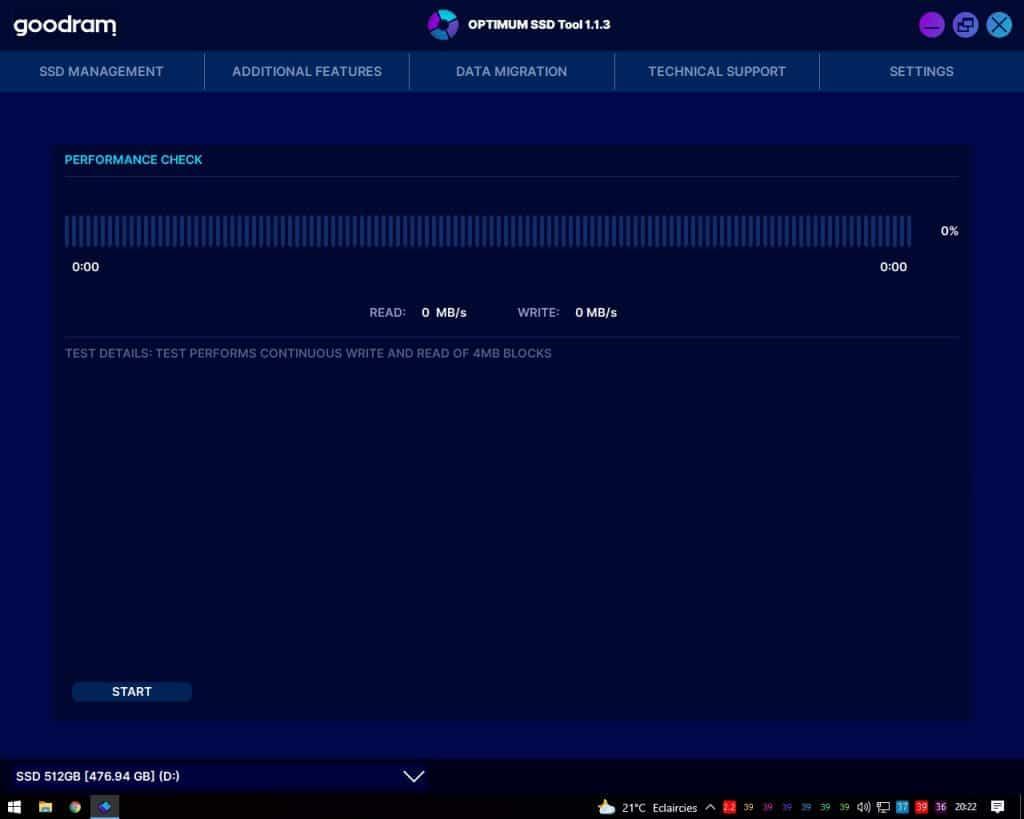Test SSD GOODRAM HX100 512 Go Optimum SSD Tool