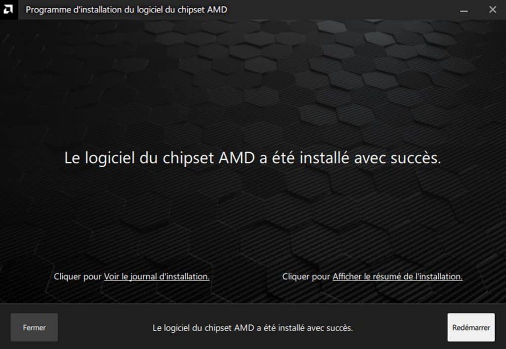 Installation de la mise à jour du chipset réussie