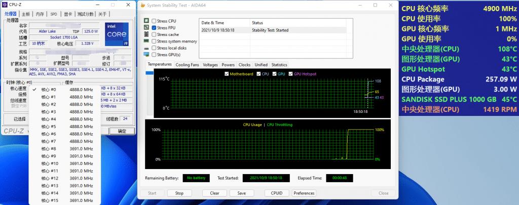 Test Intel Core i9-12900K consommation et température