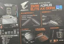 Fuite boîte carte mère Gigabyte Z690 AORUS Elite AX DDR4