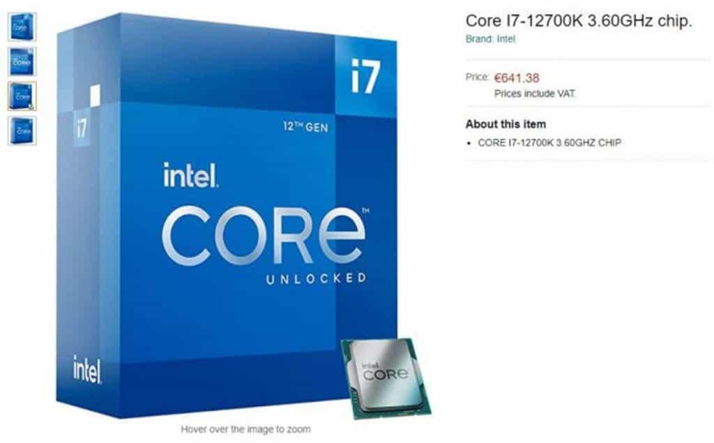 Processeur Intel Core i7-12700K listé Amazon Allemagne