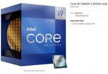 Processeur Intel Core i9-12900K listé Amazon Allemagne