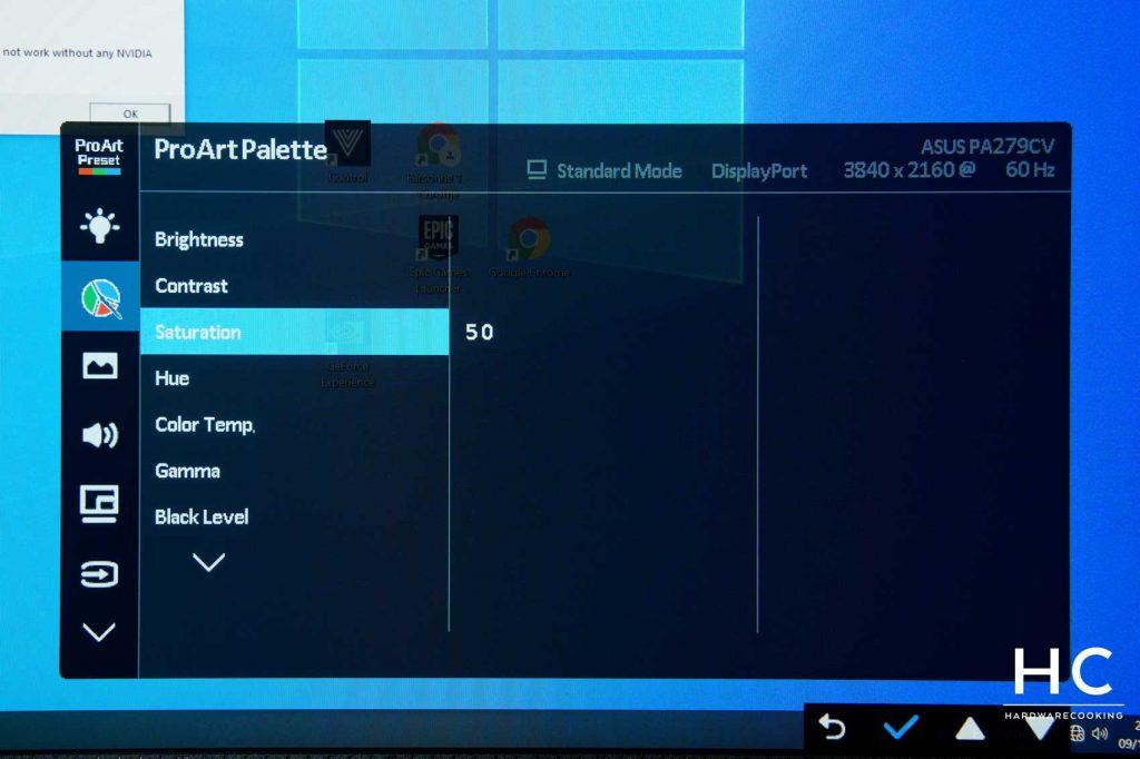 OSD écran ASUS ProArt