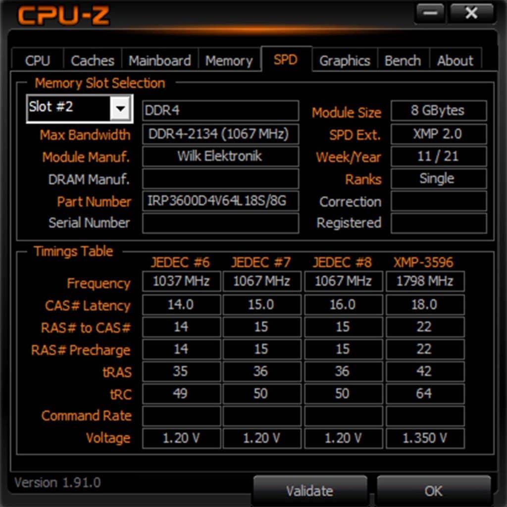 CPU-Z DDR4 IRDM PRO DEEP BLACK